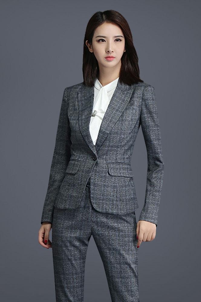 新款方格时尚气质女西服定制