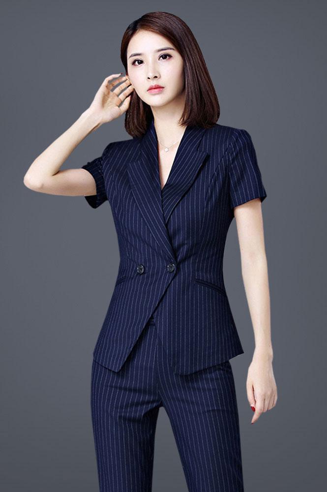 蓝色条纹半袖西装定制