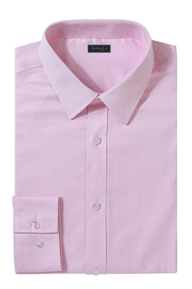 粉色纯棉商务衬衫定制