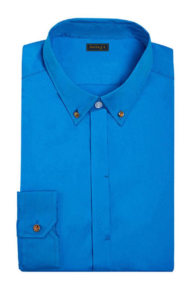 蓝色纯棉长袖衬衫定制