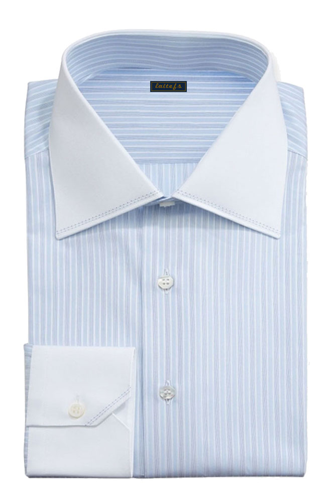 天蓝色条纹衬衫定制