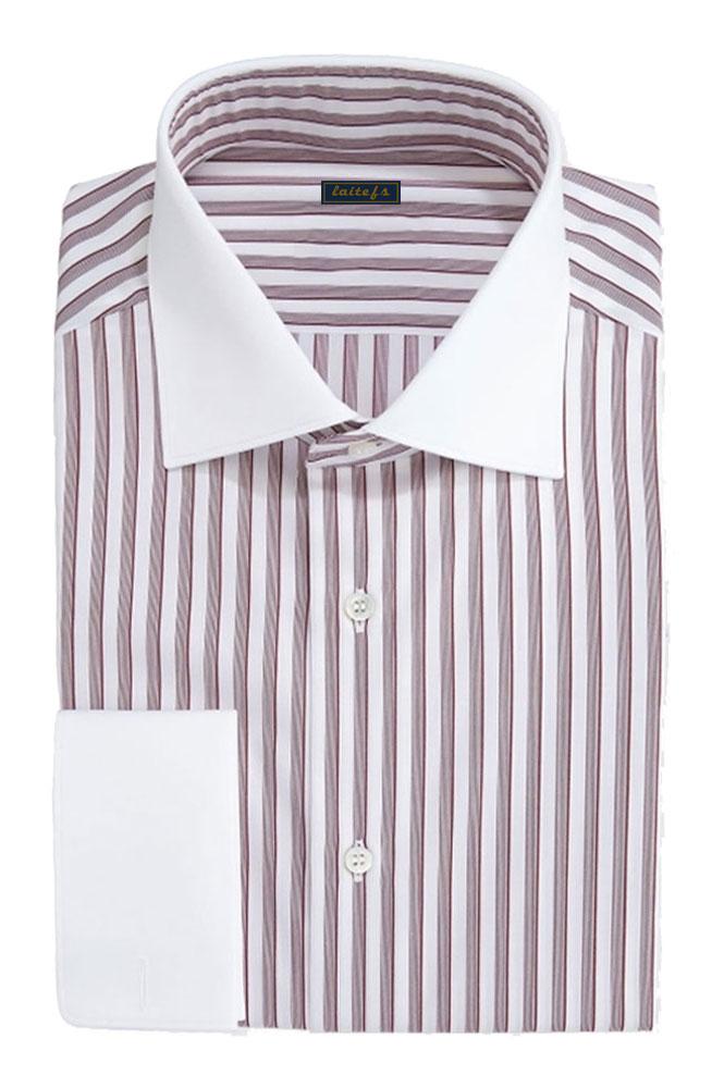 男士纯棉条纹长袖衬衣定制