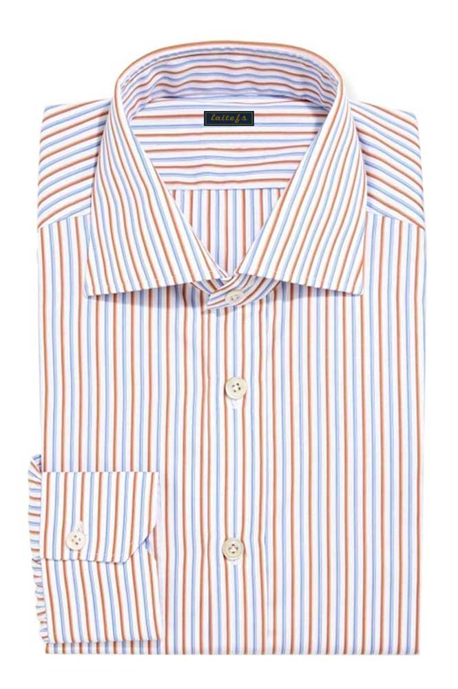 男式条纹长袖衬衫定制