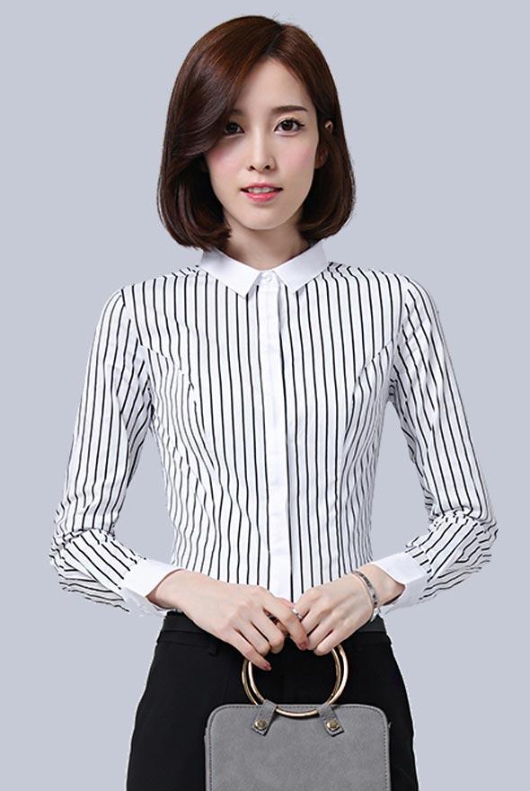女士黑白条纹撞色拼接衬衫定制