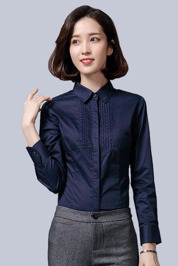 女士藏蓝色长袖衬衫定制