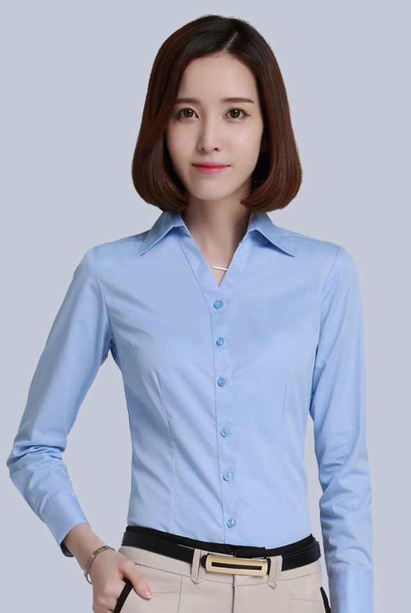 女士V领职业衬衫定制