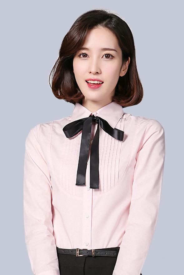 女士粉色修身商务衬衫定制