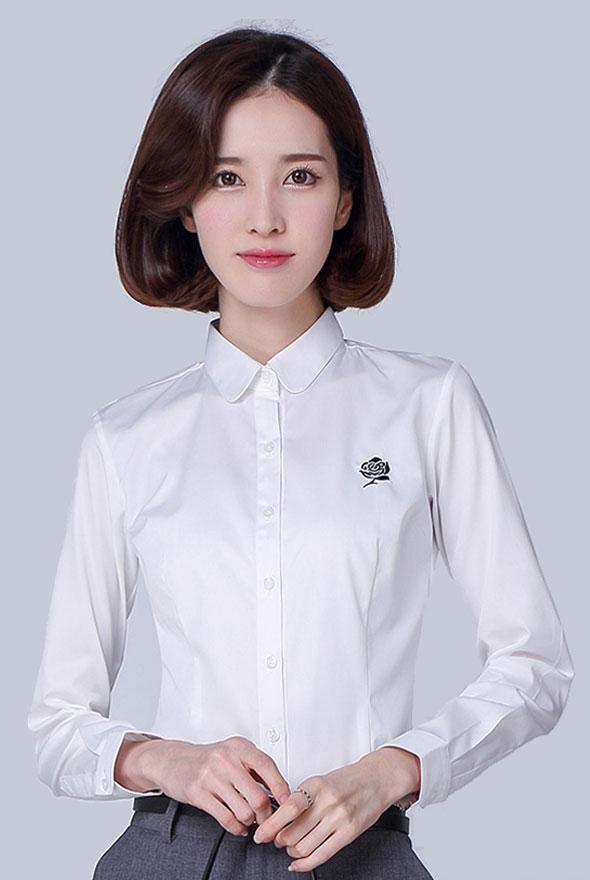 女士白色修身长袖衬衫定制