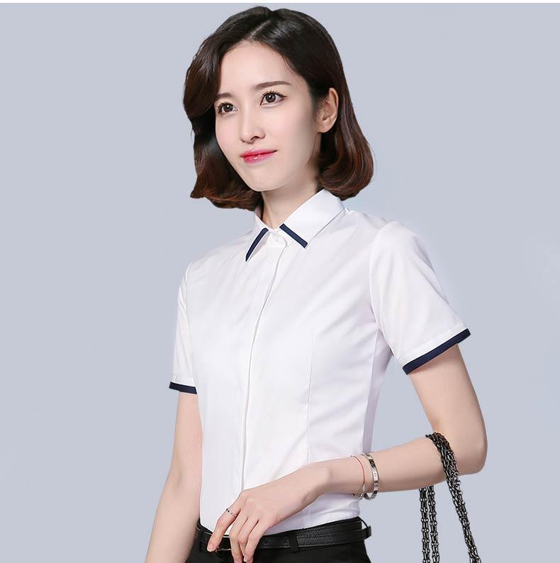 女士白色短袖款式图