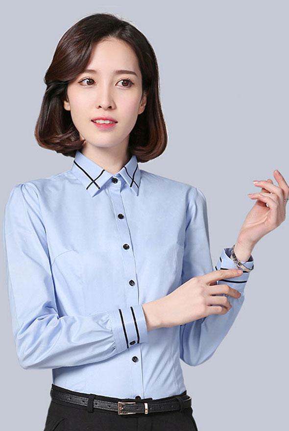 蓝色修身版衬衣定制