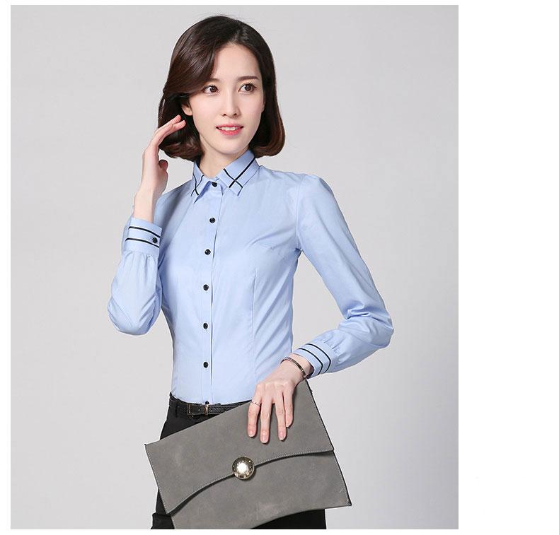 蓝色修身女士衬衣款式图