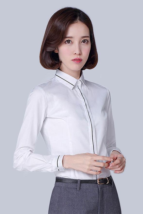 藏条特色白色衬衫定制