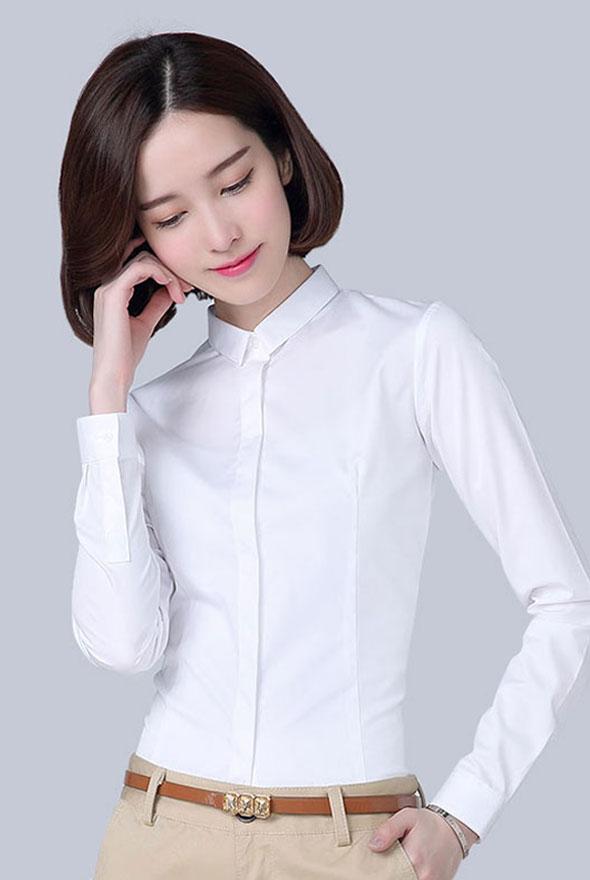 白色简洁暗门襟衬衫定制