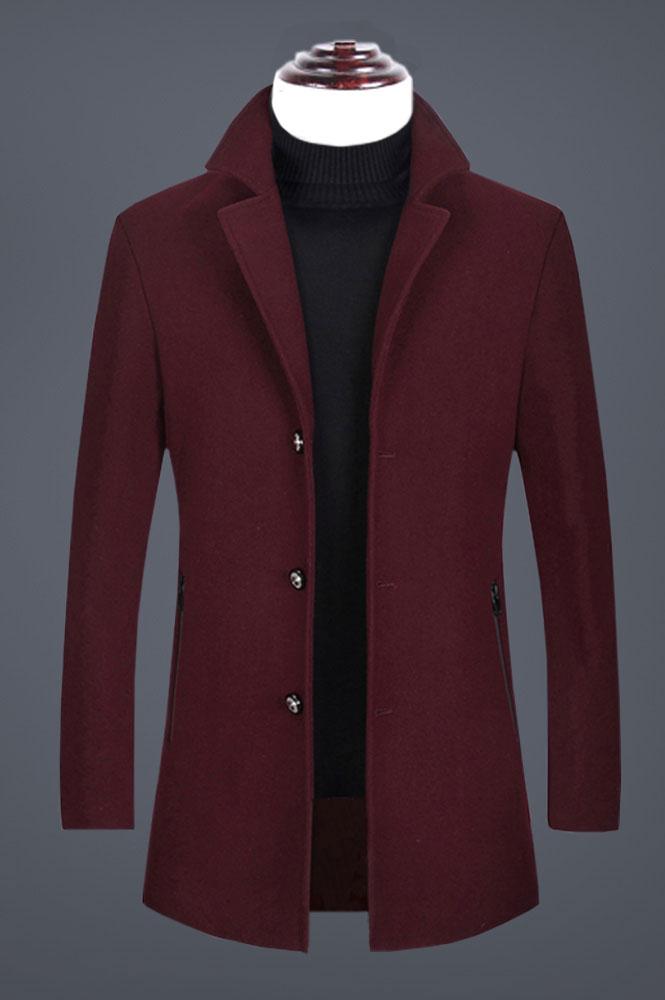 酒红色男士羊毛呢子大衣定制