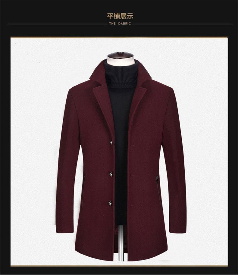 酒红色男士大衣款式图