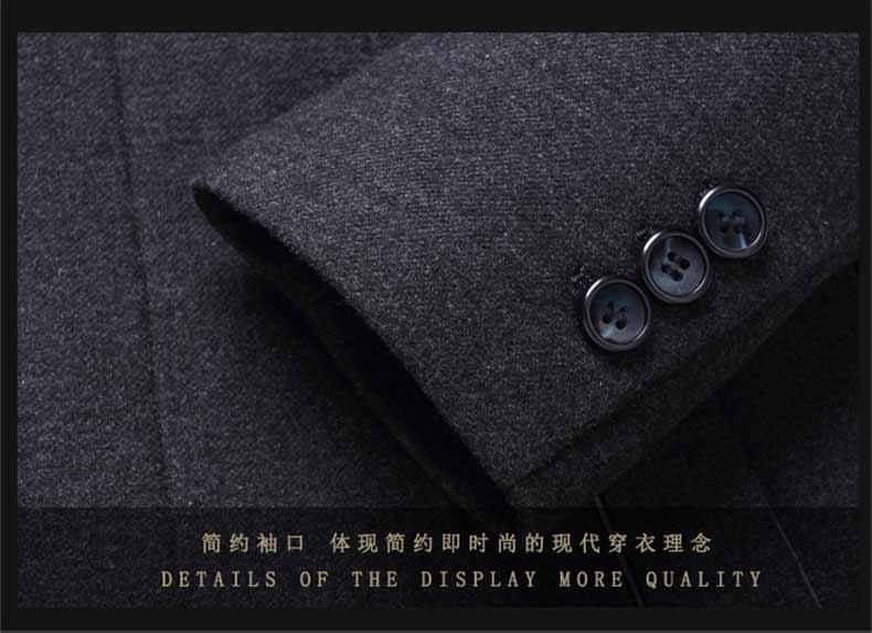 男士羊毛修身大衣款式细节图
