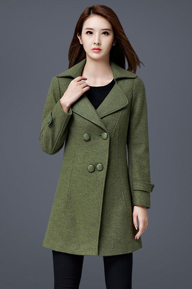 军绿色外套女长袖呢子大衣定做