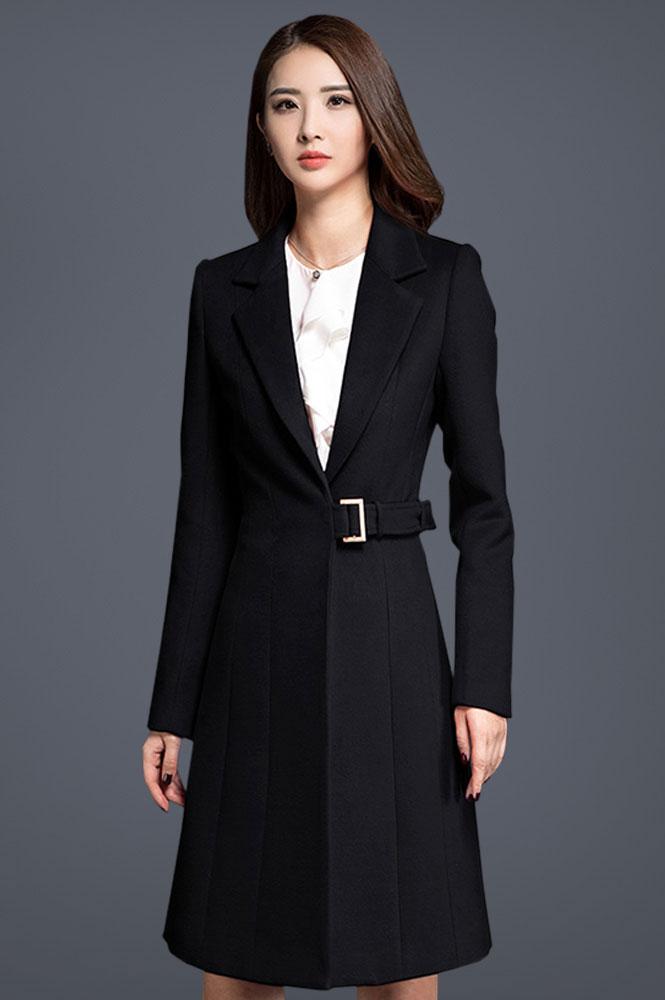 女中长款修身加厚呢子大衣定做