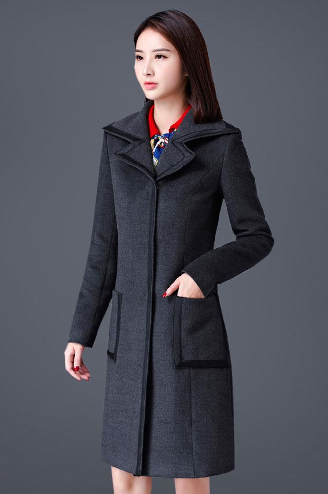 加厚灰色韩版呢子大衣定做