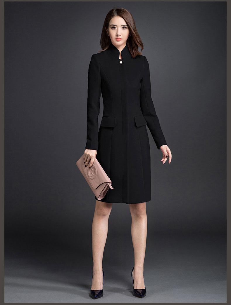 女中长款黑色大衣款式图