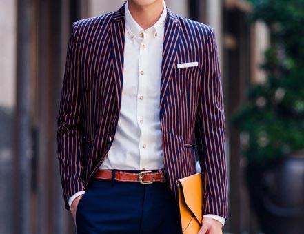条纹西服款式搭配参考图