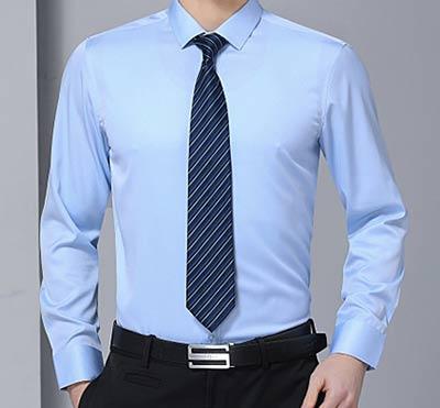 男士蓝色衬衫款式参考图