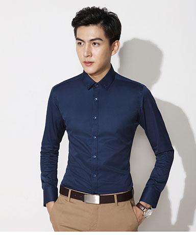 藏青色衬衫参考图