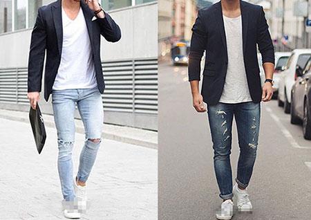 西装牛仔裤搭配小白鞋