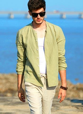 草绿色棉麻衬衫
