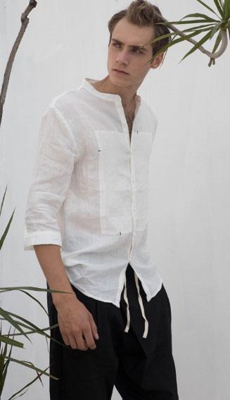 棉麻无领衬衫