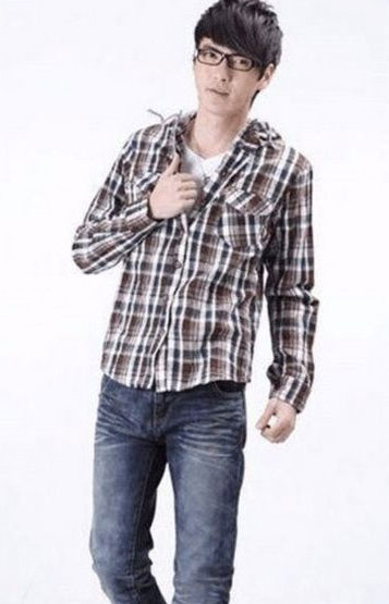 格子棉麻衬衫