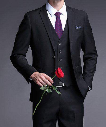 黑色结婚西服