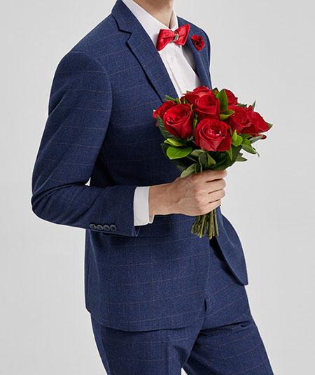 蓝色结婚西服