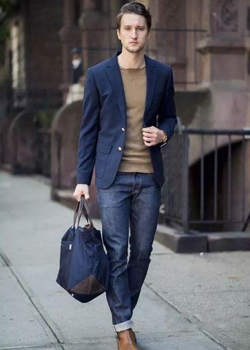 牛仔裤搭配西装