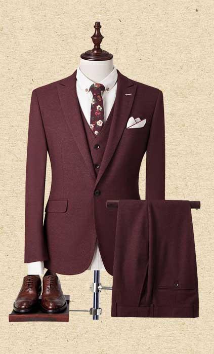 枣红色西服