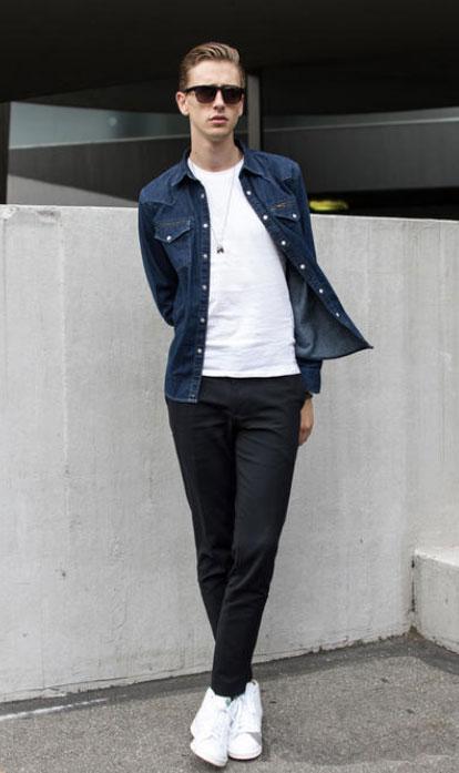 男士小西裤搭配小白鞋