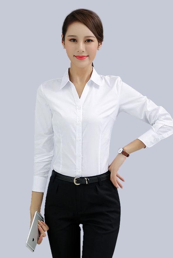 女士V领衬衫定制