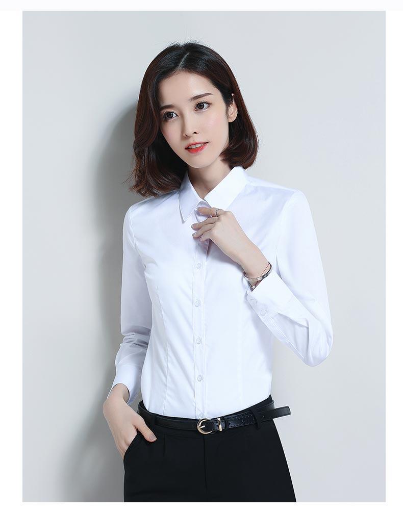 女款白色长袖衬衫款式图