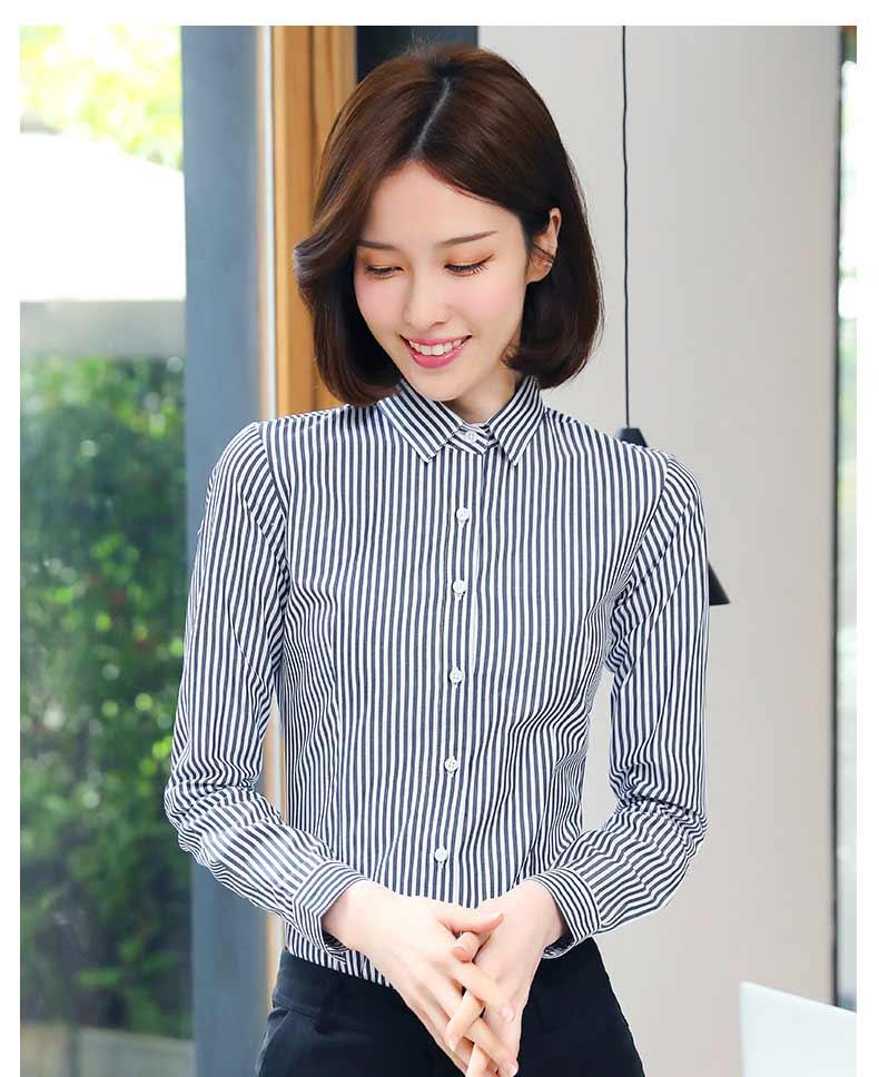 女士时尚条纹衬衫款式图