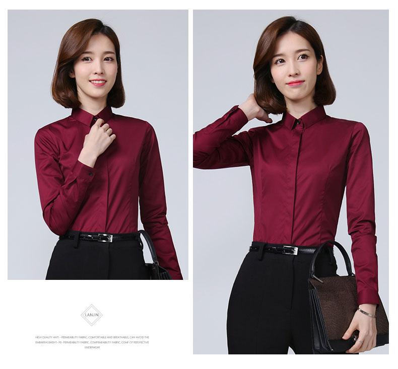 女士酒红色衬衫款式图