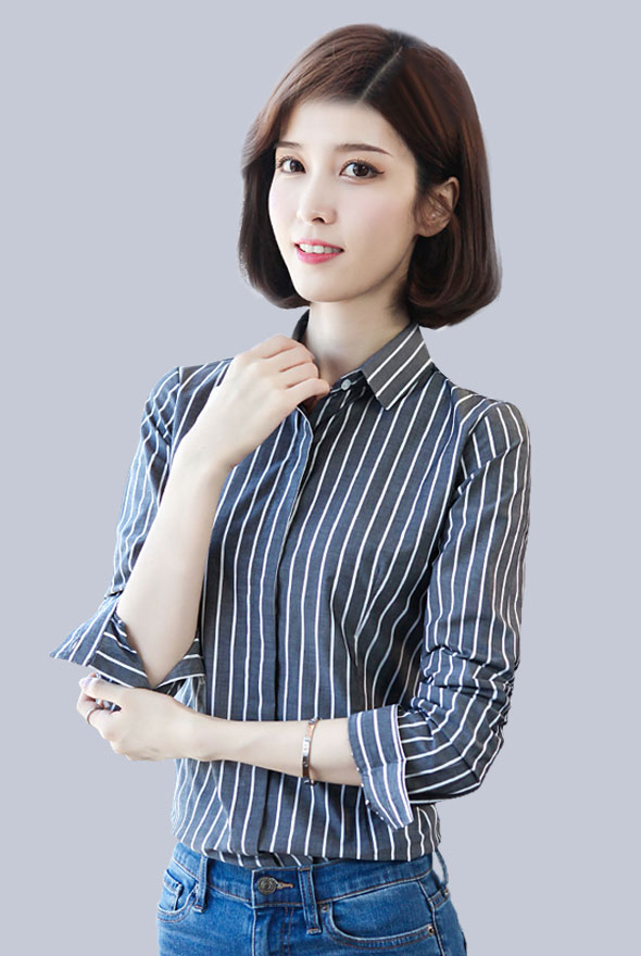 女士竖条纹衬衫定制