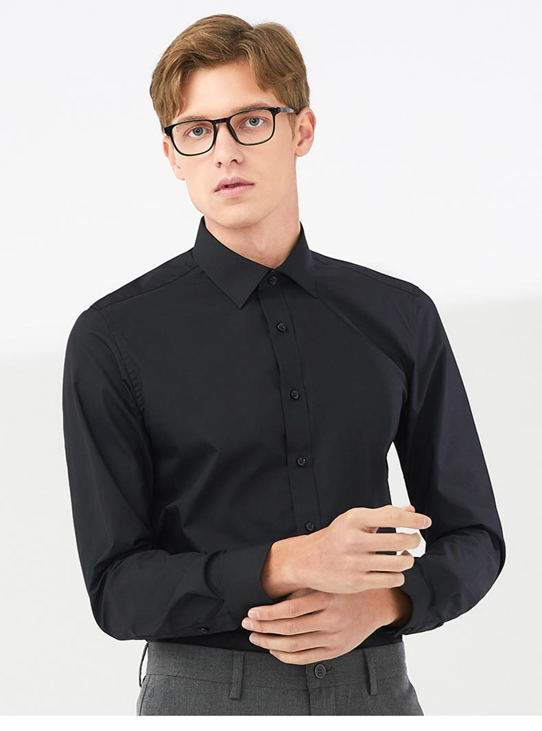 男士黑色衬衫定制款式图