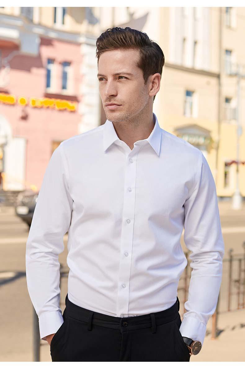 男士白色衬衫定制款式图