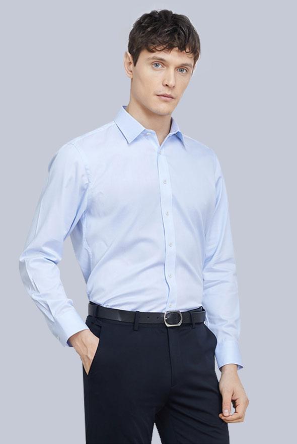 男士浅蓝色衬衫定制款