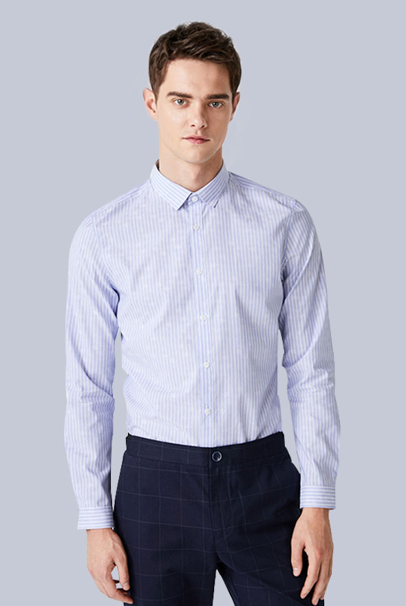 男士条纹商务衬衫定制款