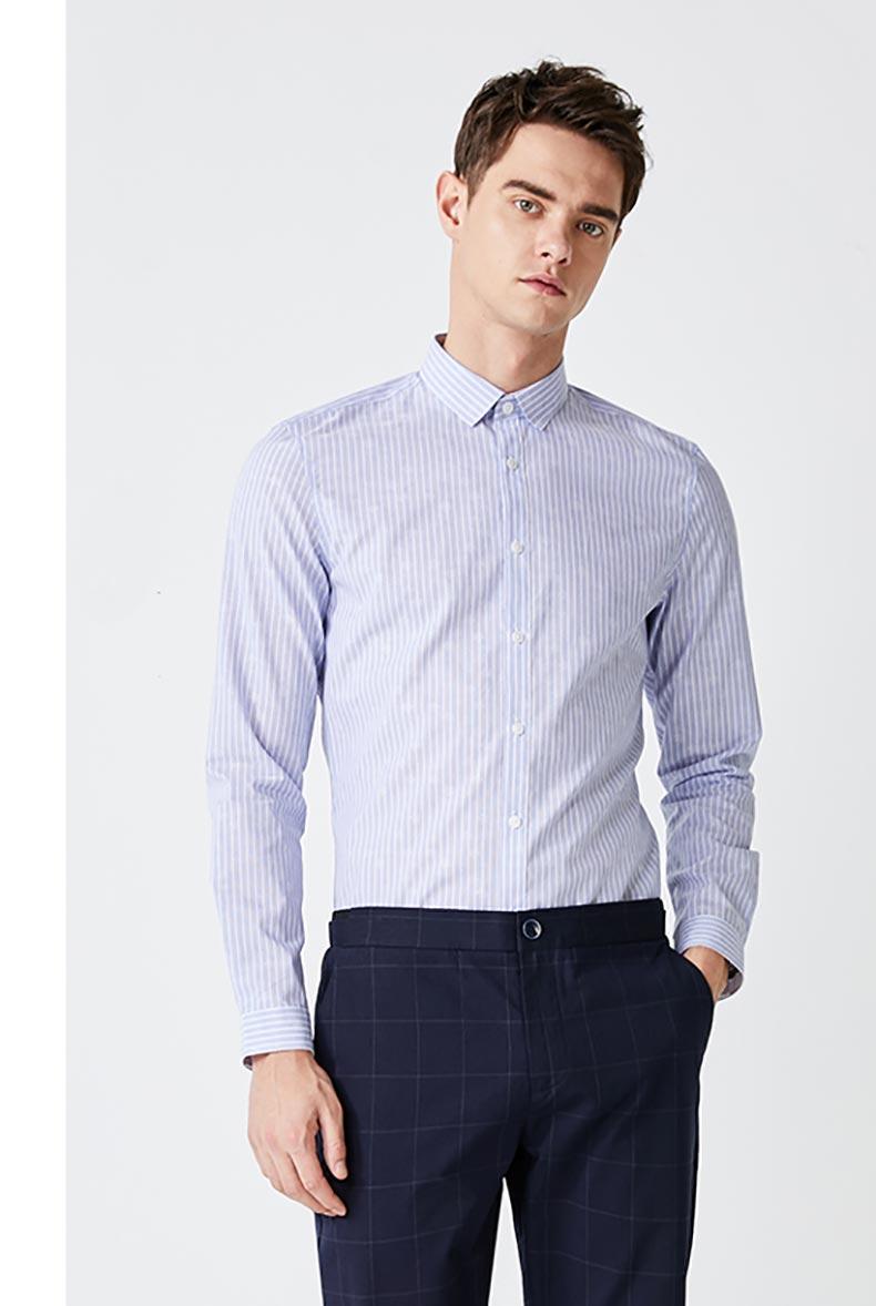 男士条纹商务衬衫定制款式图
