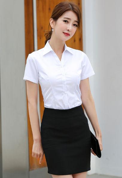 纯棉衬衫配A字包臂裙款式图