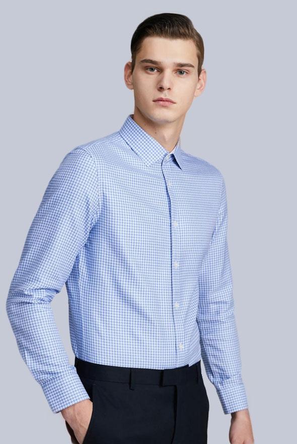 男士蓝色千鸟格商务衬衫定制款