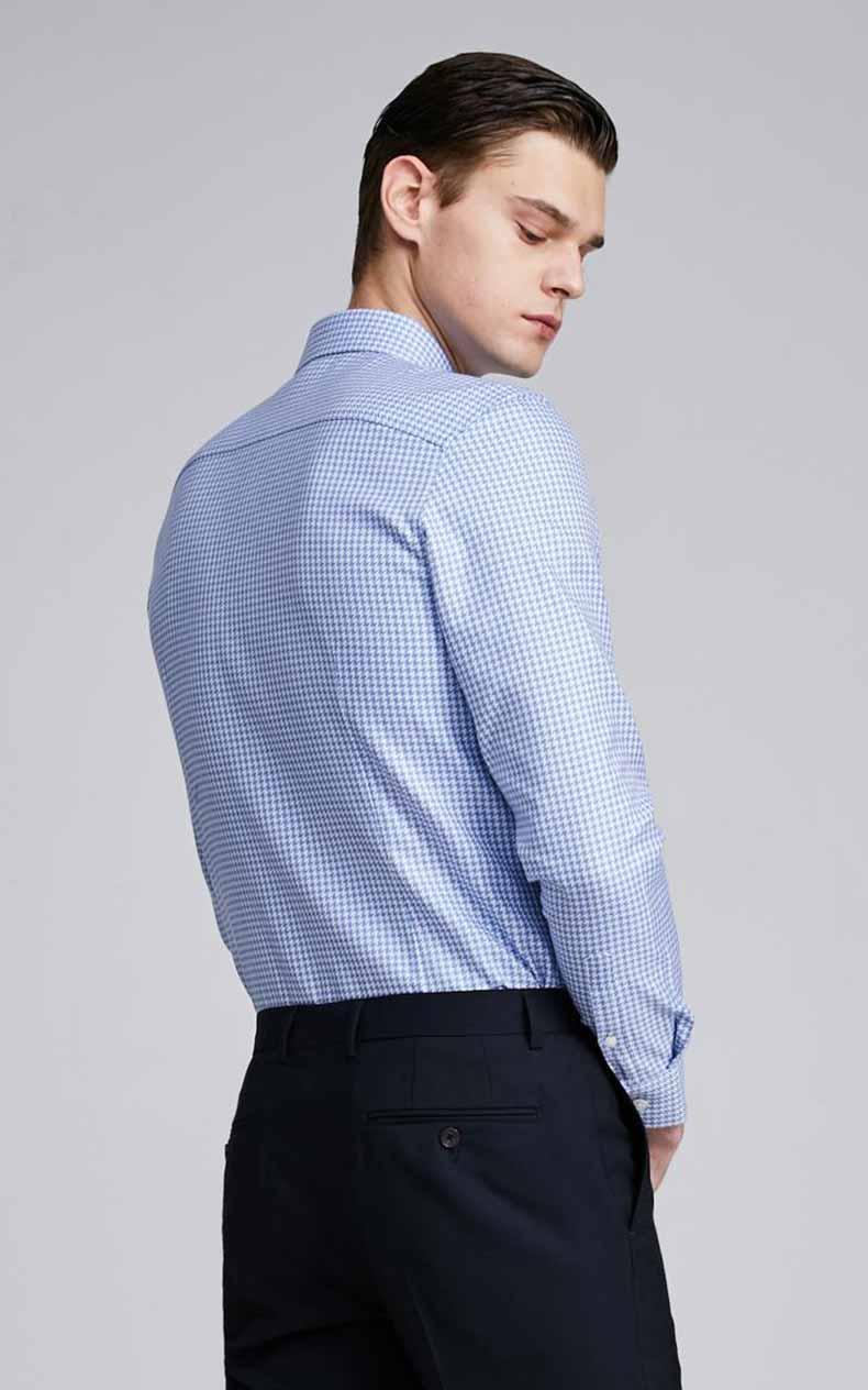 男士蓝色千鸟格衬衫定制款式图