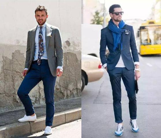 男士运动鞋搭配小西服配图